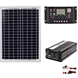 1500 Watt 12/24 Volt Monocrystalline Solar Starter Kit with 30A PWM Controller, Solar Power Generation System Solar Panel+Solar Controller+Inverter Set,- LCD Display