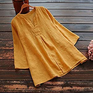 Womens Casual Loose Tops Ladies Printed Long Sleeve Pockets Plus Size Tanic Blouse