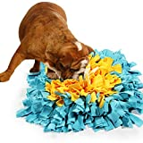 BenchMart Dog Snuffle Mat, Hand Woven Dog Sniffing Pad - Slow Feeding Dog Cat Food Mat/Activity Play Mat/Interactive Puzzle Toys/Dog Nosework Spliced Blanket (45 x 45cm/17.7×17.7inch) (Blue/Yellow)