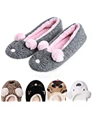 Garatia Women's Plush Winter Warm Animal Soft Cute Home Slippers Dog