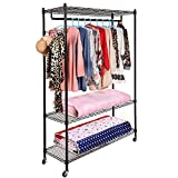 (US Stock)Free Standing 3-Tier Portable Rolling Clothes Wardrobe Garment Rack with Double Rod,Heavy Duty Clothes Rack Closet Hanger Storage Organizer (black one pair hooks one hanging rods)