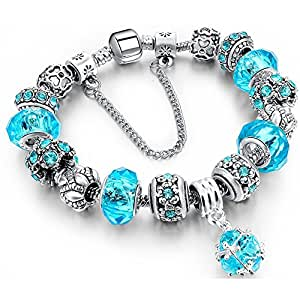 Morenitor[TM] Beaded Bracelet Handmade Carved Sterling Silver Plated Snake Chain Charm Bracelet for Women 19.5cm (Blue)