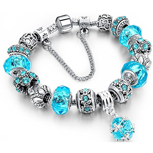 Charm Bracelet, Morenitor Sterling Silver Plated Snake Chain Handmade Carved Bead Bracelet Charms Bracelets Thanksgiving Gifts for Women, 19.5cm (Blue)