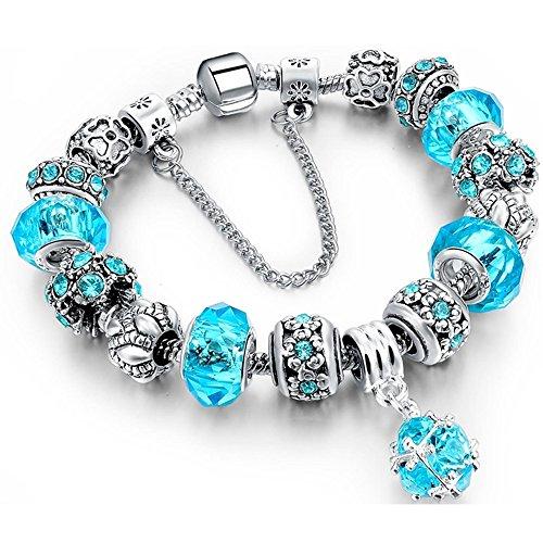 (Charm Bracelet, Morenitor Sterling Silver Plated Snake Chain Handmade Carved Bead Bracelet Charms Bracelets Mother's Day Gift for Women, 19.5cm (Blue))