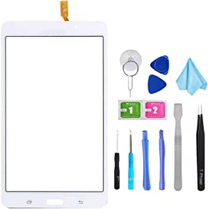 """White Touch Screen Digitizer for Samsung Galaxy Tab 4 - Glass Replacement for SM-T230 T230NU 7"""" inch(Not Include LCD) with Tools + Pre-Installed Adhesive"""