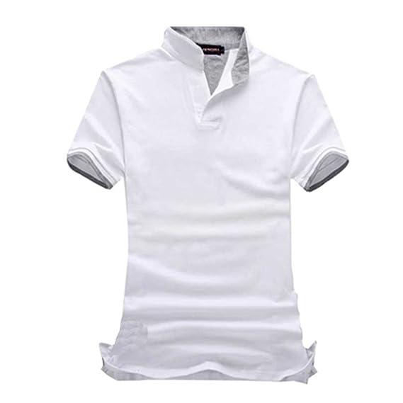 Tamaño 7XL 6XL Hombres Camiseta Solid Cuello V Manga Corta Hombres ...