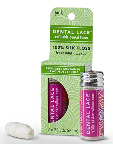 Dental Lace | Silk Dental Floss with Natural Mint Flavoring | Includes One Refillable 100% Recycleable Pink Dispenser and Two Floss Spools| 66 yards