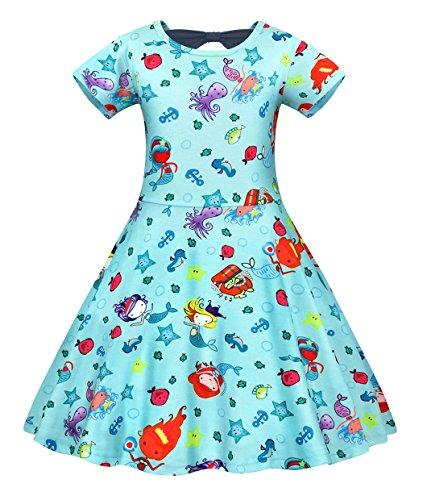 Filare Little Mermaid Dress Girls Casual Playwear Sleepwear Pajamas Outfit Kids Clothes Christmas