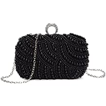 Chichitop Womens Noble Crystals Beaded Pearl Evening Clutch Bag Wedding Party Purse