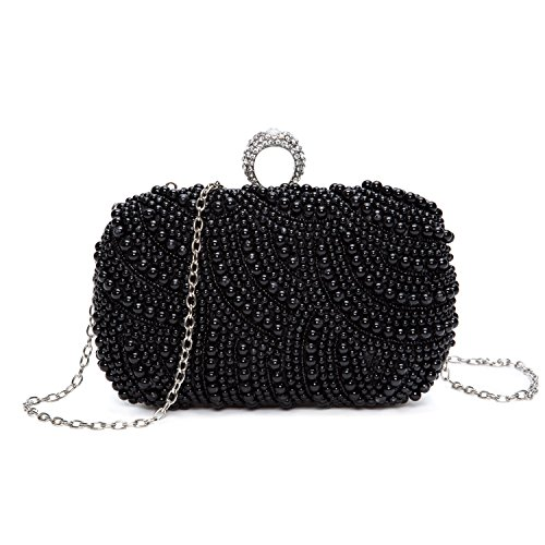 Black And White Satin Clutch Bag - 3