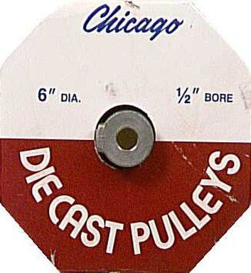 Chicago Die Cast Single V Grooved Pulley A Section Belt Width 6 '' Dia X 1/2 '' Bore Bulk