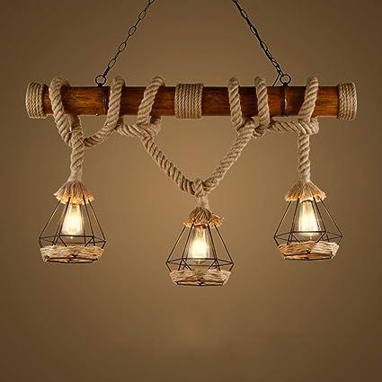YCLED Lámparas de bambú Vintage Lámparas industriales 3 ...