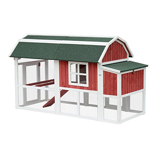 Pawhut-47-Barn-Style-Deluxe-Chicken-Coop-with-Run-and-Nesting-Box