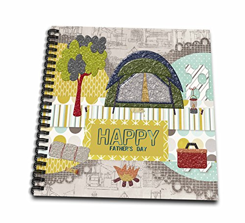 Beverly Turner Fathers Day Design - Camping Theme, Fathers Day, Abstract, Yellow, Red, Green, Orange - Memory Book 12 x 12 inch - Turner Sticker