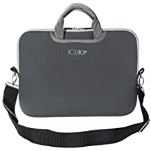 """iColor Gray 9.7"""" 10"""" 10.1"""" 10.2"""" iPad/ Tablet / Laptop Neoprene Carrying Case Sleeve Briefcase Pouch Handle Bag Tote for iPad Air, Kindle Fire HD 10, Dell Venue 10 Pro, Toshiba Encore 2, PolaTab Q10.1, Dell Inspiron Mini 10 (ISH10-Gray)"""