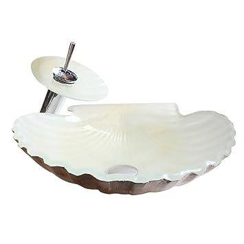 HomeLava Lavabo Vasque en Verre Trempé Blanc Coquillages, avec Robinet  Cascade à poser la salle de bain