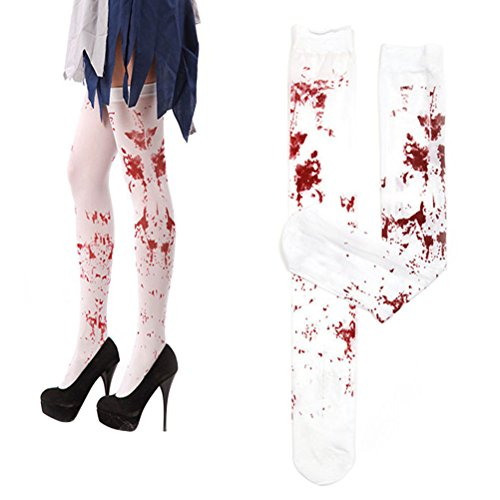 Scary Womens Halloween Costumes (Tinksky Halloween Costumes Women Blood Stained White Knee High Stockings for Halloween Cosplay Costume Party Halloween Horror Nights 1 Pair 70CM)