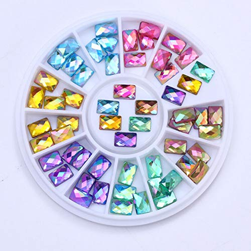 Chameleon Marquise Nail Art Rhinestones Flat Bottom 3D Studs Decoration in Wheel (Shape - #8 ()