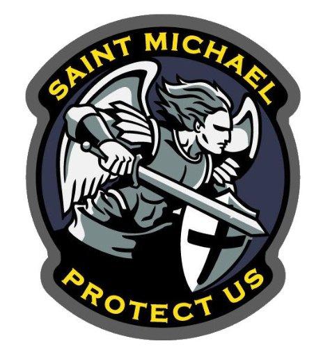 Saint Michael Protect Us Modern Vinyl Decal (Full - Shipment Us Tracking