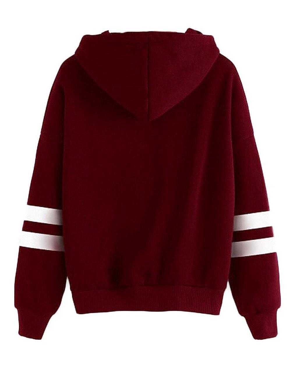 Women Girl Long Sleeve Hoodie Sweatshirt Simple Style Solid Color Hooded Pullover Tops Casual Blouse