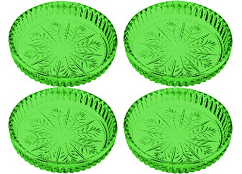 Fifth Avenue Portico Crystal Coaster Set of 4 - Full Color Light Green - Additional Vibrant Colors Available by TableTop King ()