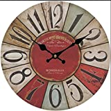Cheap Upuptop 16″ Rustic Country Tuscan Style Simple Style Colorful Numbers Wooden Wall Decor Clock