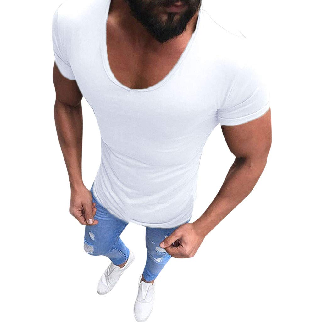 Seaintheson Mens T Shirts, Men Casual Short Sleeve Tee Shirt Slim Muscle Fit Sport Gym Blouse Solid Color V-Neck Top White
