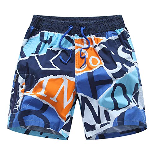 NUWFOR Men's Summer New Cotton Printed Short Sleeves Fashion Loose Size Beach Pants(Blue,US M Waist:25.98-33.86'') by NUWFOR (Image #3)