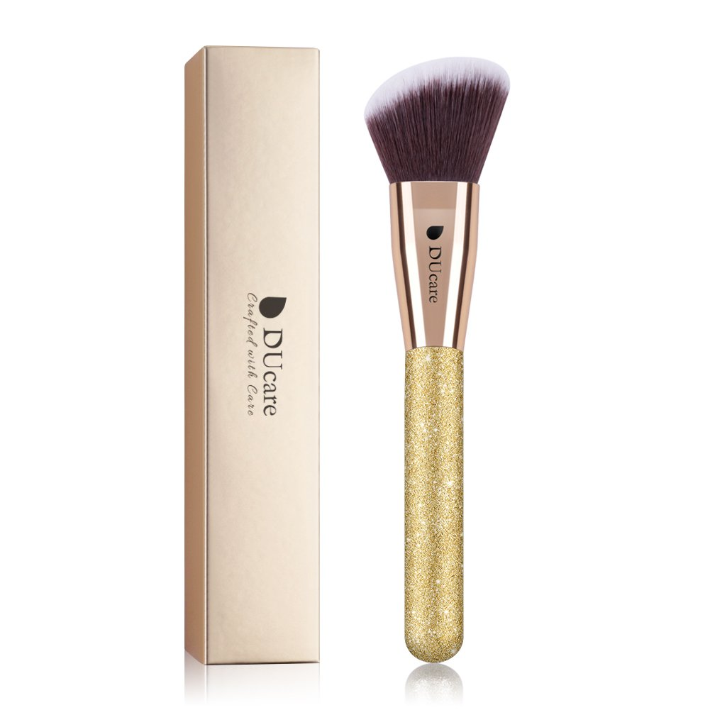 DUcare Make Up Brushes 2Pcs Golden Glitter Kabuki Brush Synthetic Professional Foundation Powder Blending Cosmetic Tools Double Ended Brush Doremi Beauty