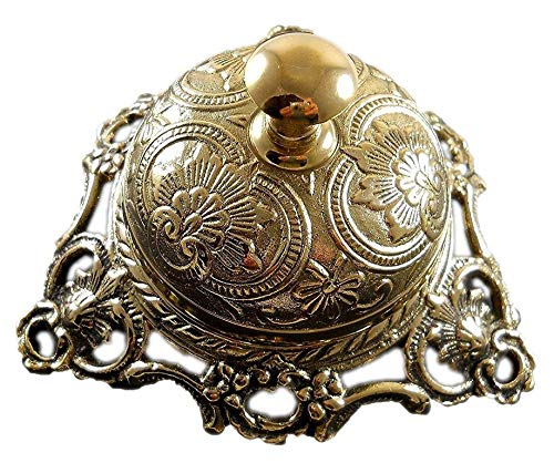 Buddha4all Ornate Solid Antique Brass Hotel Counter Bell Solid Brass Victorian Style Service Desk Bell (Ornate Solid)