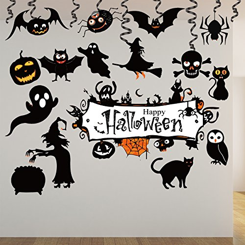 Halloween Party Decoration Kit 31pcs Haunted House Hanging Swirl Trick or Treaty Party Supplies
