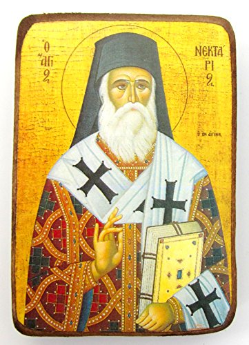 Wooden Greek Christian Orthodox Wood Icon of Saint Nectarios of Aegina / A0