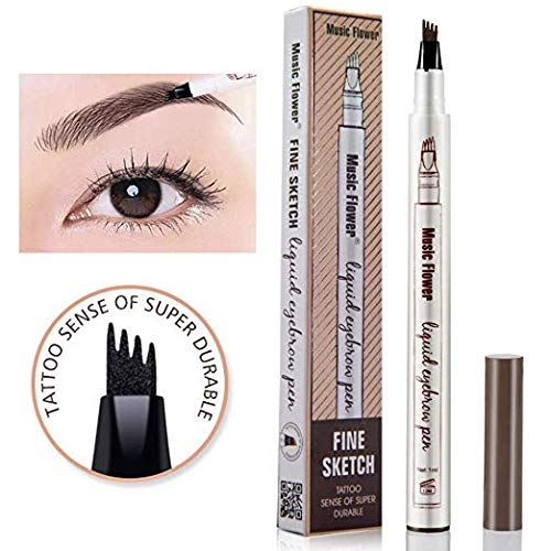 Tattoo Eyebrow Pen Waterproof Ink Gel Tint with Four Tips, Long Lasting Smudge-Proof Natural Hair-Like Defined Brows All Day (Dark Grey)