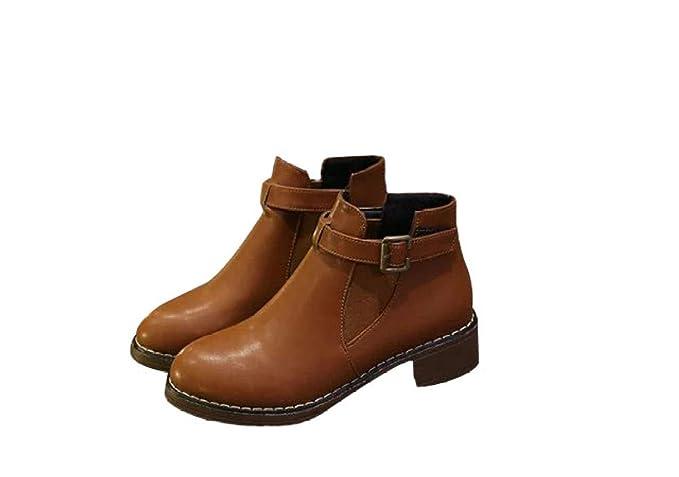 QVRGE Botas De Otoño E Invierno Zapatos Tacones Gruesos Zapatos Martin Botas Botas Botines,Brown