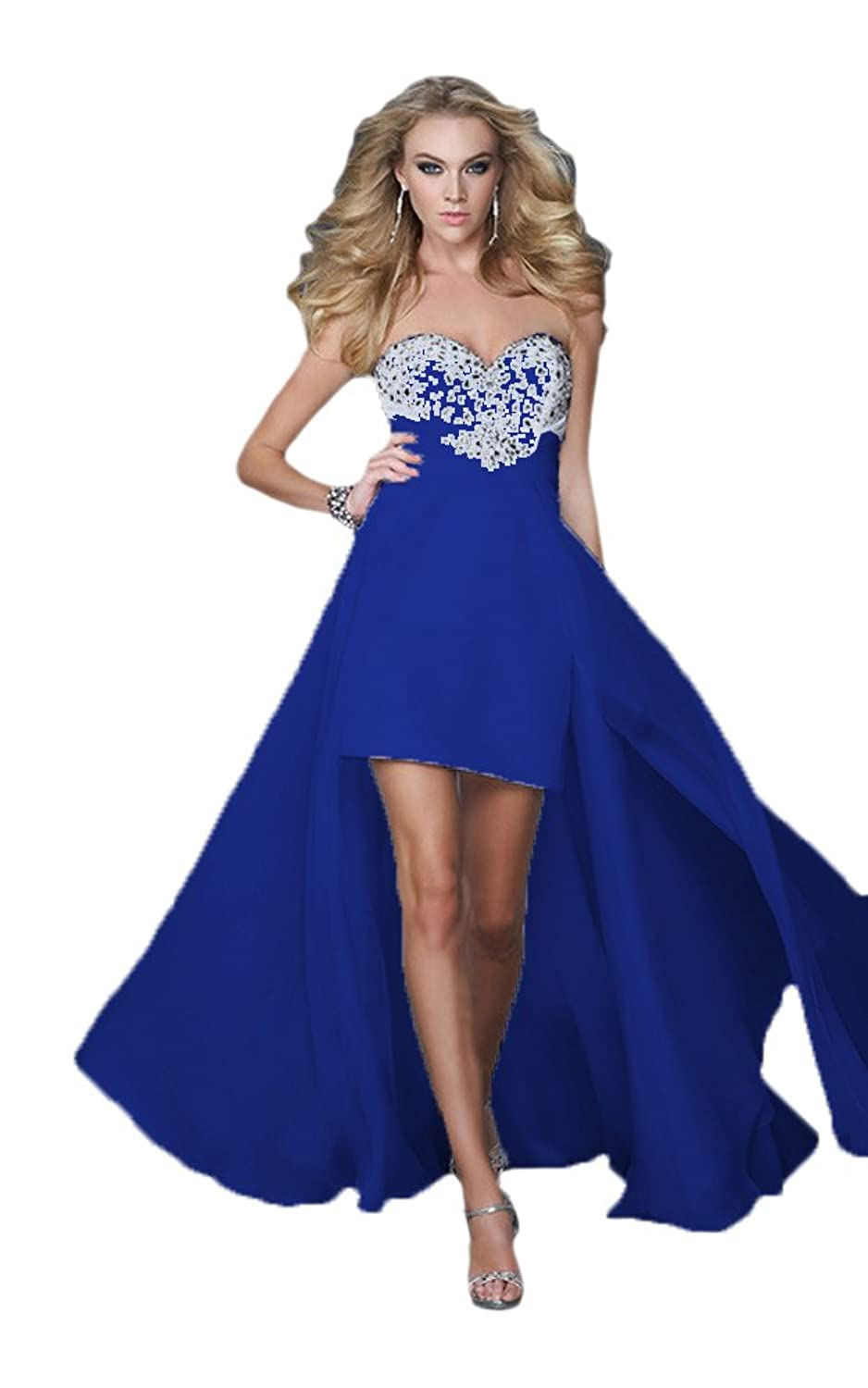 Vimans? Girl's High Low Royal Sweetheart Chiffon Evening Party Gowns