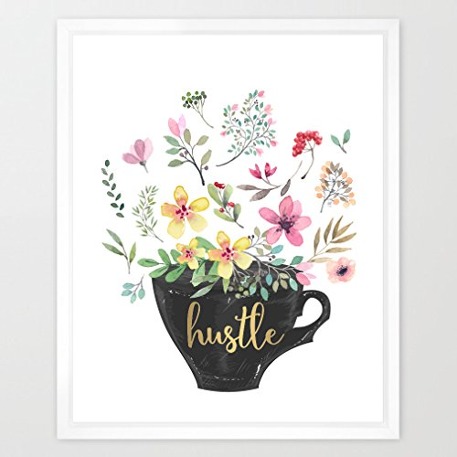 Eleville 8X10 Hustle Real Gold Foil and Floral Watercolor Art Print (Unframed) Kids Wall Art Home Decor Inspirational Poster Motivational print Holiday Gifts Birthday Wedding Gift Quote Print WG038