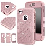 iphone 4s case bling crystal - Majesticase iPhone 4/4S Case - 3 Layers Diamante Bling Crystals Full Body Hybrid Armor Protection Cover + FREE Stylus in Rose Gold