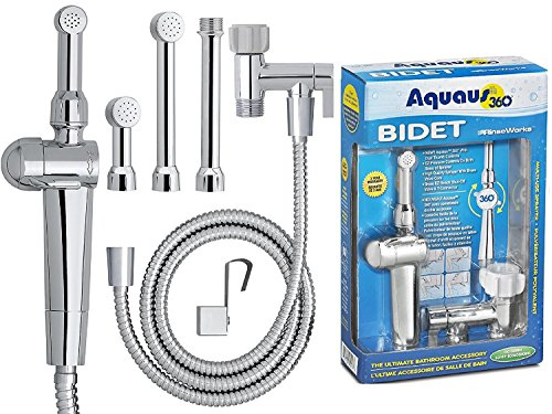 RinseWorks - Aquaus 360 Patented Hand Held Bidet - With ABS Polymer Sprayer - NSF Certified - 3 Year Warranty - Dual Pressure Controls - Safe Valve Core - 3 Spray Heads & 5'' Extension. -