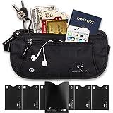 Money Belt - RFID Blocking Hidden Travel Wallet with 7 Bonus Sleeves