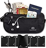 Alpine Rivers Money Belt - RFID Blocking Hidden Travel Wallet + 7 Bonus Sleeves … (Deluxe Black Premium)
