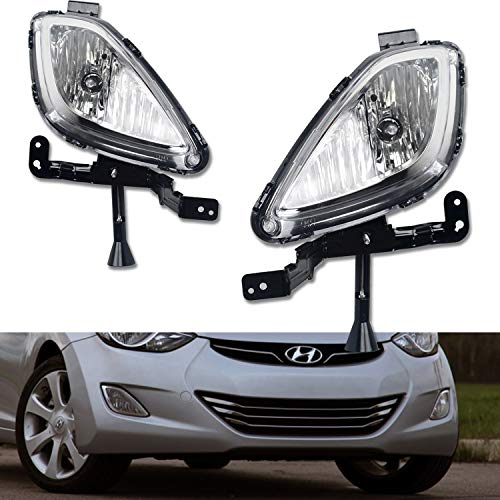 (TC Sportline LA-HYEL1101CL-W OE Style Pair Clear Lens Front Bumper Driving Fog Lights Lamp with Switch Wire - For 2011-2013 Hyundai Elantra)