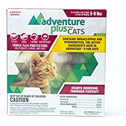 Adventure Plus Flea and Tick Prevention for Cats. 4 Months Protection. (4 Dose, 5-9 lbs)