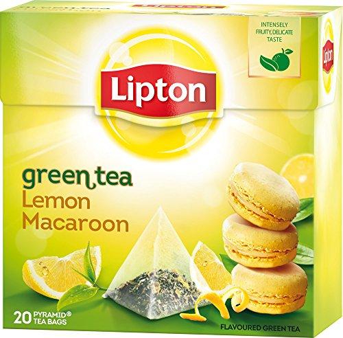 Lipton - Green Tea Lemon Macaroon - Premium Pyramid Tea Bags (20 Count Box) [PACK OF 3]