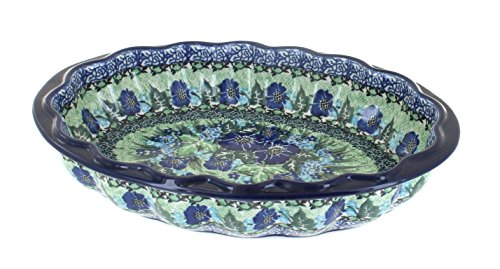 Blue Rose Polish Pottery Sapphire Fields Scallop Baking Dish
