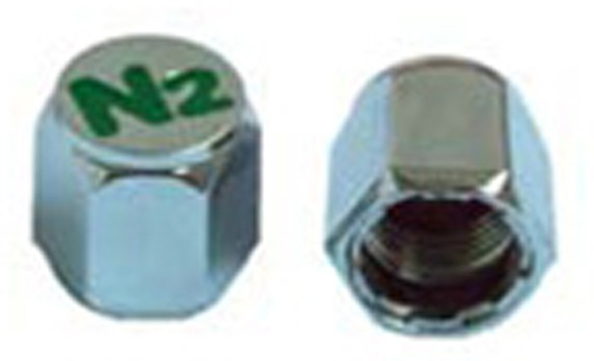 SKU 601 Economy 1,000 Pak Nitrogen Valve Stem Caps - Engraved N2 - Chrome Plated ABS Complete with Silicone Inner Seal by ECCO