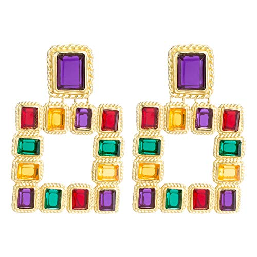 Figaro Design Bohemian Large Square ZA Dangle Earrings for Women Charm Vintage Gold Color Fashion Crystal Drop Earring Bohemia Square Statement Big Earrings Jewelry (Multi-Color)