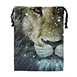 Luxury Jewelry Pouches Drawstring Gift Favor Bags Candy Bag, 15.75x11.8 Inch-Snow In Lion Face