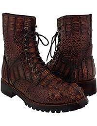 Men's Cognac Exotic Alligator Skin Motorcycle Biker Combat Boots 10 Eyelet Lace Up