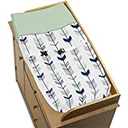 Sweet Jojo Designs Grey, Navy and Mint Woodland Arrow Boy Girl Baby Changing Pad Cover