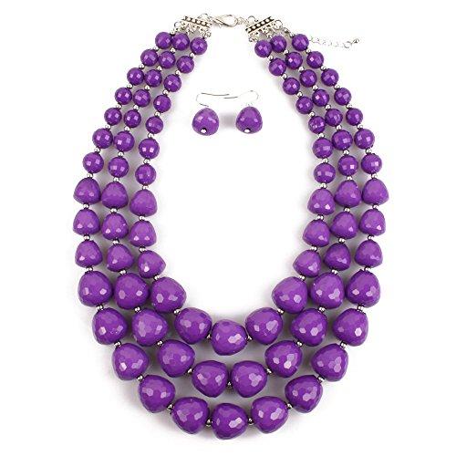 KOSMOS-LI 3 Layer Acrylic Purple Bead Multi Strand Necklace